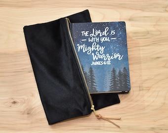 Hand Painted Bible // Landscape Bible // Pine Trees // Personalized Keepsake