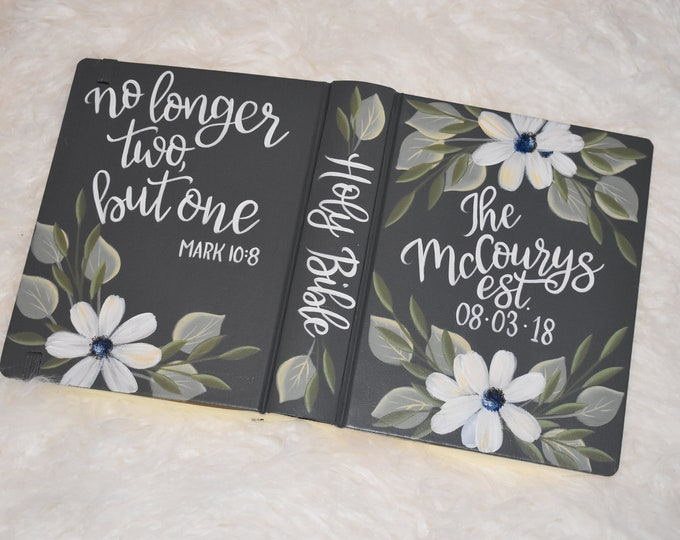 Custom Hand Painted Bible | Proposal Gift | Wedding Guest Book Alternative | Personalized Keepsake