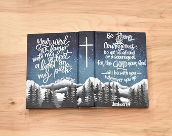 """Hand Painted Bible, Landscape Bible, Pine Trees, Catholic """"Blessed is She"""" Bible, Personalized Keepsake"""