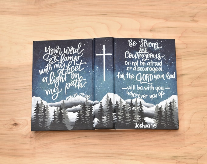 "Hand Painted Bible // Landscape Bible // Pine Trees // Catholic ""Blessed is She"" bible // Personalized Keepsake"