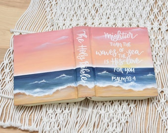 Hand Painted Bible // Beach scene // Personalized Keepsake