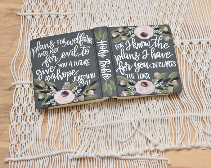 Hand Painted Bible // Wedding Guest Book Alternative // Custom Personalized Keepsake