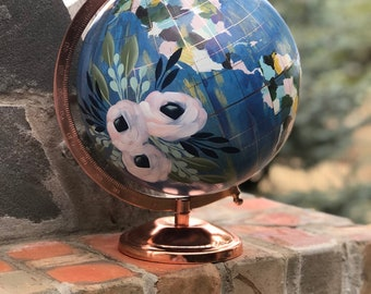 World Globe // Hand Painted Florals // Custom Lettering Option Available