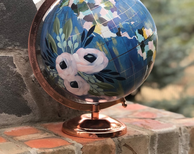 World Globe | Hand Painted Florals | Custom Lettering Option Available