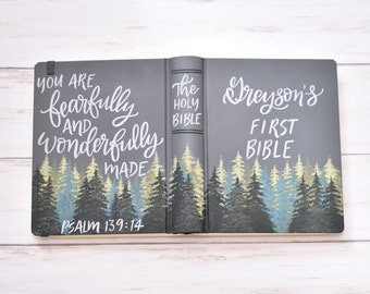 Hand Painted Bible // Landscape Bible // Pine Trees // Psalm 139:14 // First Bible // Personalized Keepsake