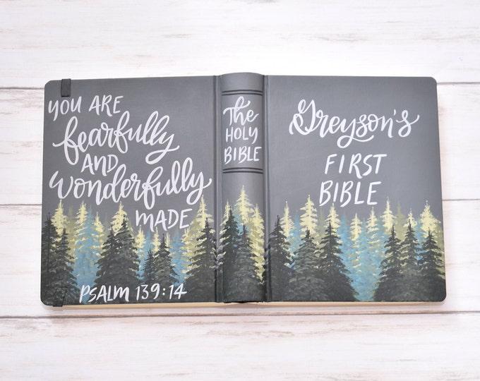 Hand Painted Bible // Landscape Bible // Gray Pines // Psalm 139:14 // First Bible // Personalized Keepsake