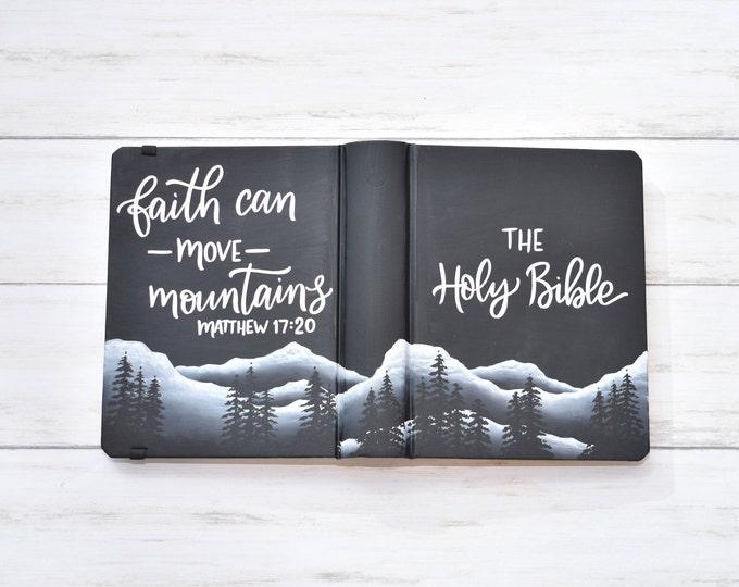 Hand Painted Bible // Black Mountain Landscape // Personalized Keepsake