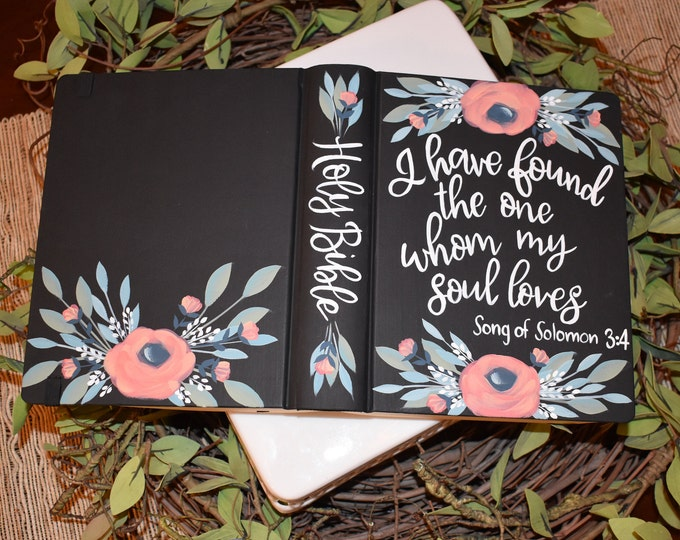Hand Painted Bible // Wedding Guestbook Alternative // Song of Solomon 3:4 // Personalized Keepsake