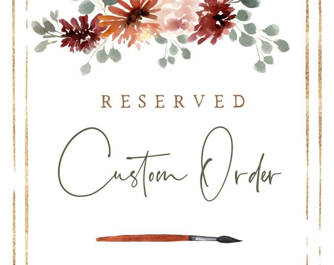 RESERVED Custom Order for Elsie