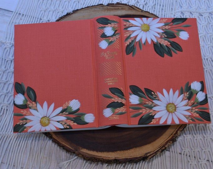 Hand Painted Bible // Holy Bible // White Daisies // Personalized Keepsake
