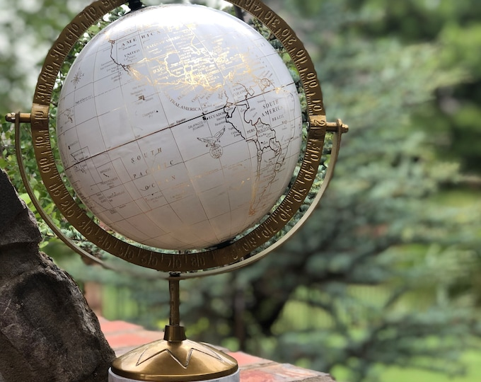 World Globe // Customize and Personalize // Cream White and Antique Gold // Hand Painted Florals and Lettering