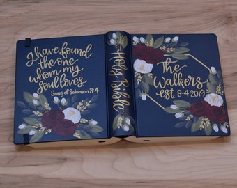 Hand Painted Bible // Wedding Guestbook Alternative // Holy Bible // Personalized Keepsake
