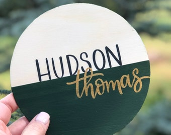 Personalized Baby Name, Round Wood Announcement, Color Block Design, Hand-Painted Baby Announcement