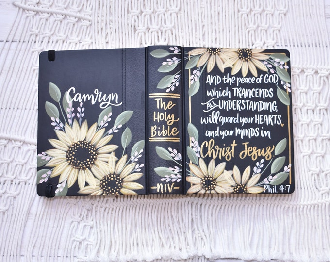 Hand Painted Bible, Speciality Floral Sunflower Design, Personal Bible, Personalized Keepsake