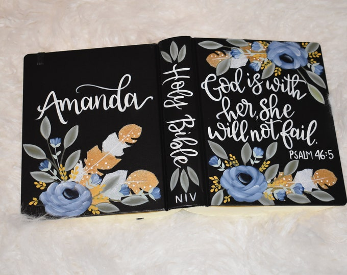 Custom Hand Painted Bible | God is within her she will not fall | Baptism Gift | Graduation Gift | Mother's Day Gift | Personalized Keepsake