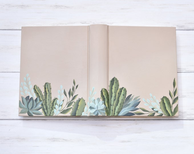 Hand Painted Bible, Specialized Floral Design, Hand Painted Cactus and Succulents, Personalized Keepsake