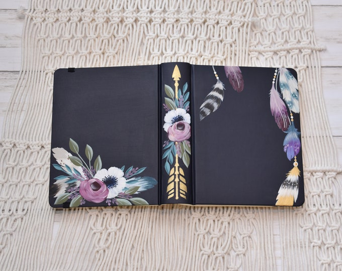 Hand Painted Bible, Specialized Floral Design, Boho Style, Feathers and Florals, Personal Keepsake