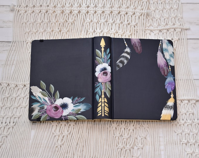 Hand Painted Bible // Specialized Floral Design // Boho Style // Feathers and Florals // Personal Keepsake