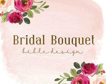 Hand Painted Bible // Bridal Bouquet Floral Design // Personal Keepsake