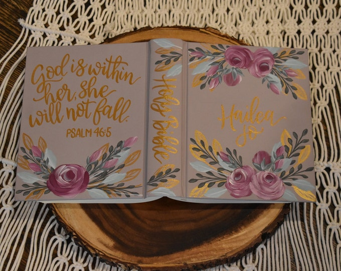 Hand Painted Bible // Holy Bible // Personalized Keepsake