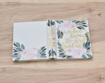 Custom Hand Painted Bible // Specialized Floral Design // Pink Roses // Personalized Keepsake