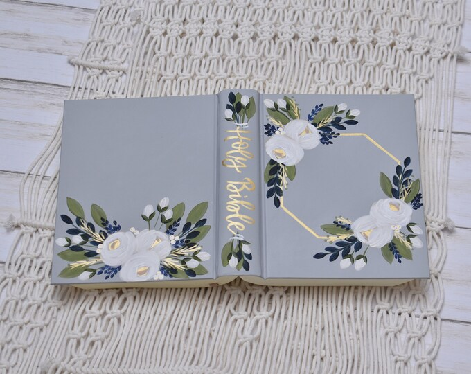 Hand Painted Bible, Family Bible, Wedding Guest Book Alternative, Holy Bible, Personalized Keepsake