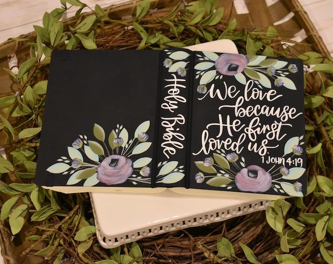 Hand Painted Bible, Wedding Gift, Lavender Roses, Personalized Keepsake