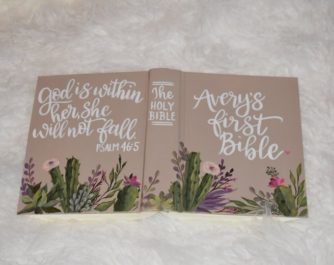 Custom Hand Painted Bible | Cactus and Succulent Design | Baptism Gift | Baby Shower | Personalized Keepsake