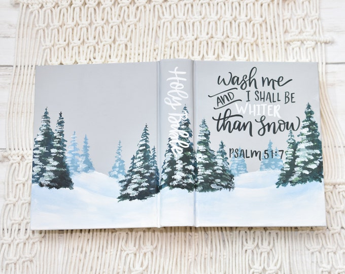 Hand Painted Bible, Snow Landscape, Baptism Bible, Personalized Keepsake