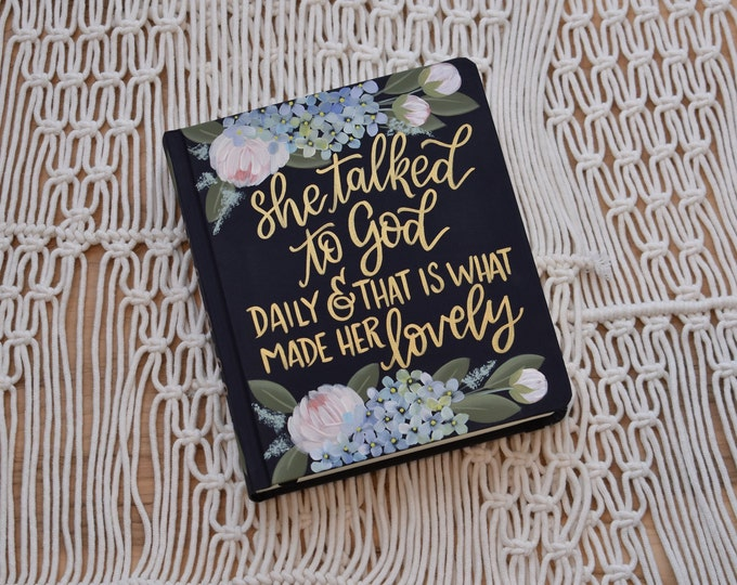 Hand Painted Bible // Gift Bible // Peony and Hydrangea Florals // Personal Keepsake