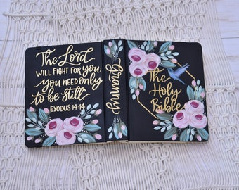 Hand Painted Bible, Specialized Floral, Hummingbird, Custom Personalized Keepsake