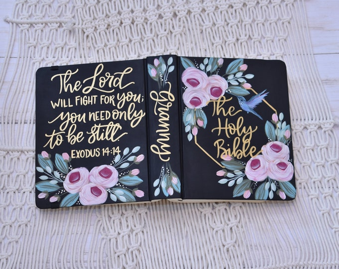 Hand Painted Bible // Specialized Floral // Hummingbird // Custom Personalized Keepsake