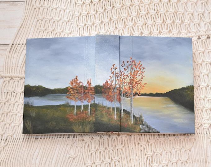 Hand Painted Bible // Landscape // Fall Lake // Personalized Keepsake