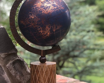 World Globe // Customize // Hand Painted Floral Option // Custom Lettering Option