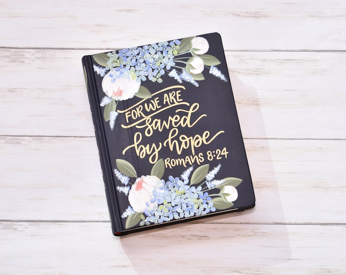 Hand Painted Bible // Peony and Hydrangea Florals // Romans 8:24 // Personal Keepsake