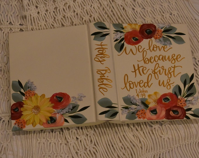 Hand Painted Bible // Specialized Floral Design // Personal Keepsake