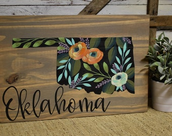 State Sign   Floral   Oklahoma   All States Available   Cottage Farmhouse Decor   Hand Painted