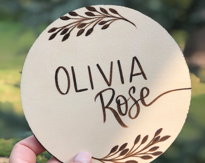 Personalized Baby Name, Round Wood Announcement, Hand-Painted Baby Announcement