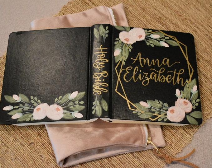 Hand Painted Bible // Baptism // Graduation // Personalized Keepsake