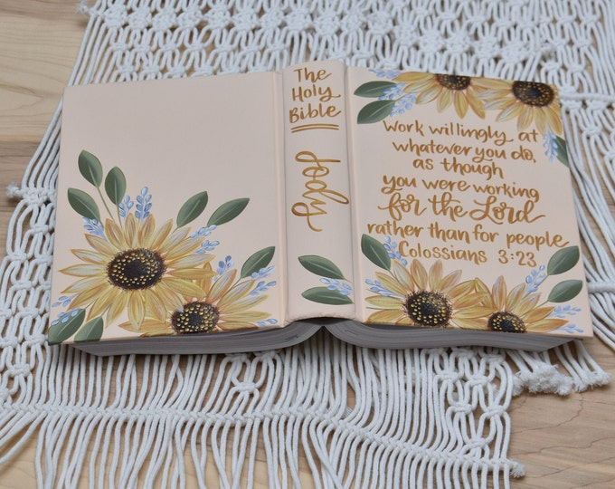 Hand Painted Bible // Holy Bible // Sunflowers // Personalized Keepsake