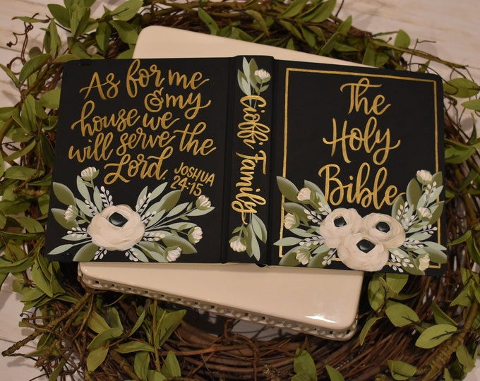 Hand Painted Bible // Family Bible  // Holy Bible // Personalized Keepsake