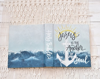 Hand Painted Bible // Quick Ship // Ocean Waves // Personalized Keepsake