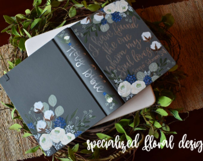 Custom Hand Painted Bible | Specialized Floral Design | Personal Keepsake
