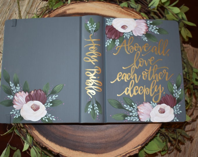 Custom Hand Painted Bible | Wedding Gift | Wedding Guest Book Alternative | Personal Keepsake