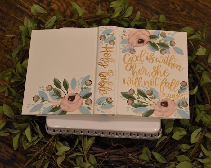 Hand Painted Bible // Baptism Bible // Graduation // Personalized Keepsake