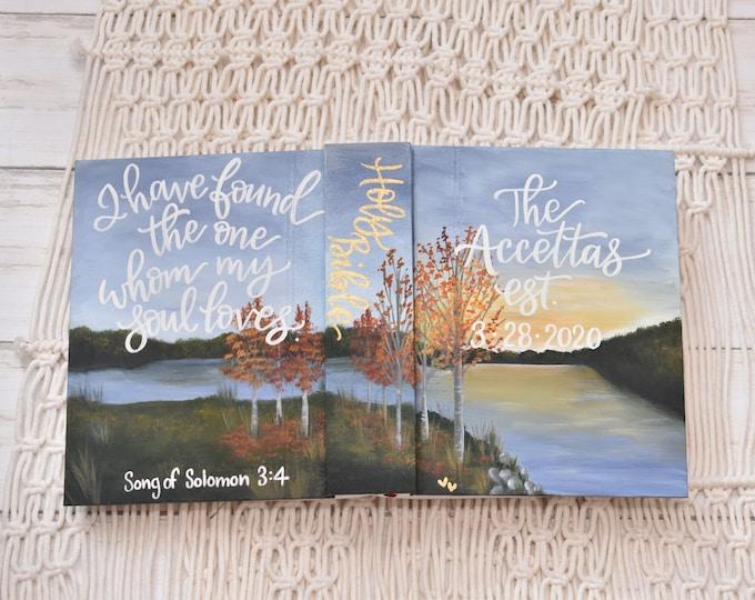 Hand Painted Bible // Landscape // Fall Lake View // Fall Landscape // Personalized Keepsake