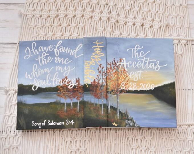 Hand Painted Bible // Landscape // Lake View // Fall Landscape // Personalized Keepsake