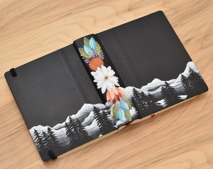 Hand Painted Bible // Speciality Floral // Mountain Landscape // Personalized Keepsake