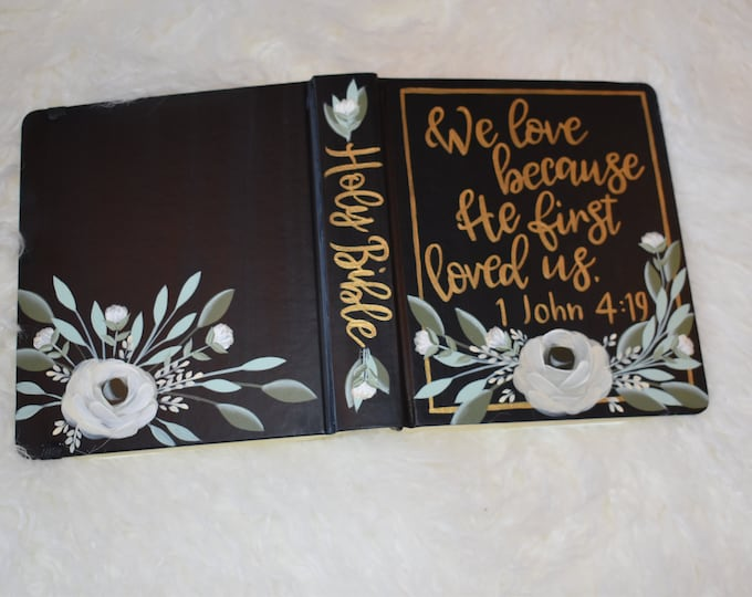 Hand Painted Bible // Wedding Guest Book // Anniversary Gift // Personalized Keepsake