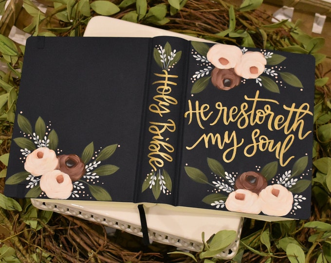 Hand Painted Bible // Wedding Guest Book Alternative // Holy Bible // Personal Keepsake
